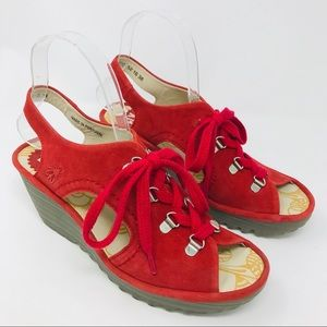 Fly London Women Sandals Sz 38 Ylfa Red Scarlet 38